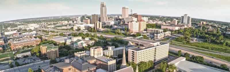 Aerial Photo of Creighton University overlooking Omaha