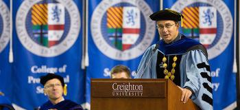 Creighton President the Rev. Daniel Hendrickson addresses campus at convocation